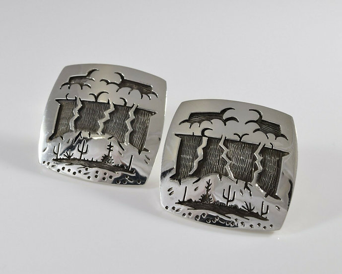 Sterling Silver Storming Desert Overlay Earrings by Rick Manuel