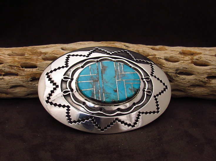 Navajo Sterling Silver Overlay Buckle with Turquoise Inlay