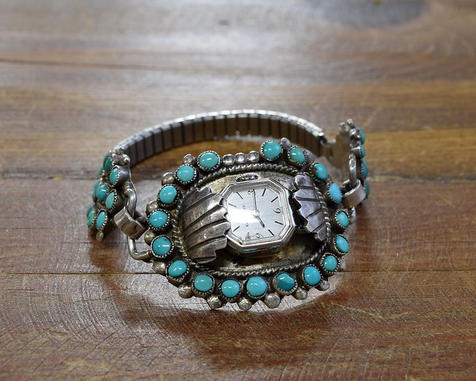 Vintage Zuni Turquoise Sterling Silver Watch