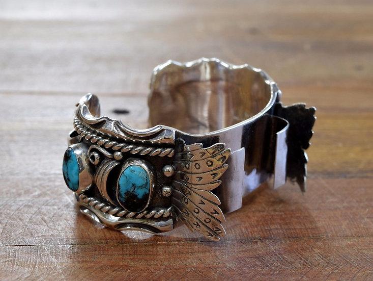 Vintage Navajo Turquoise Sterling Silver Watch Cuff Bracelet