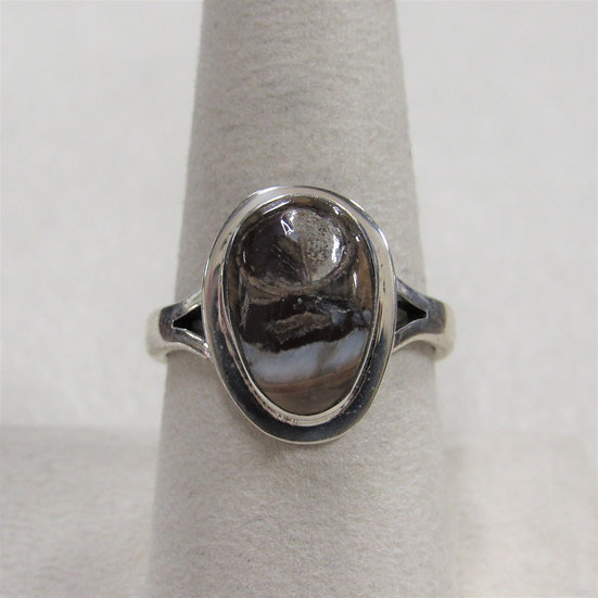 Sterling Silver Southwest Ring with Brown and White Stone