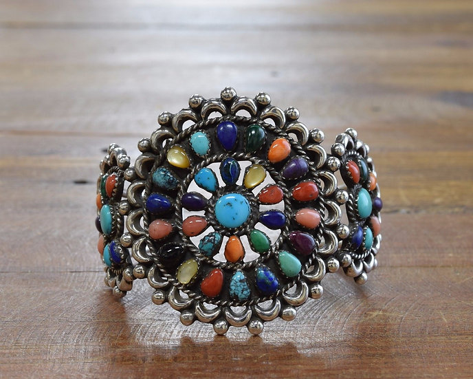 Zuni Patsy Weebothee Sterling Silver and Multi stone Cluster Cuff Bracelet