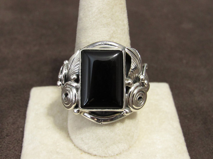 Ornate Sterling Silver and Black Onyx Men's Size 11