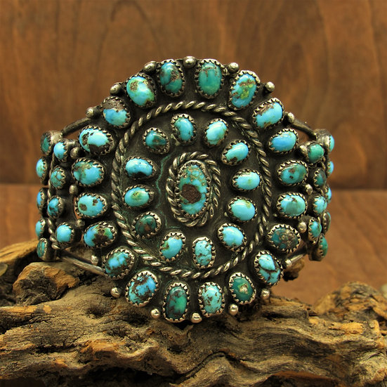 Southwest Sterling Silver and 51 Turquoise Stone Cluster Bracelet