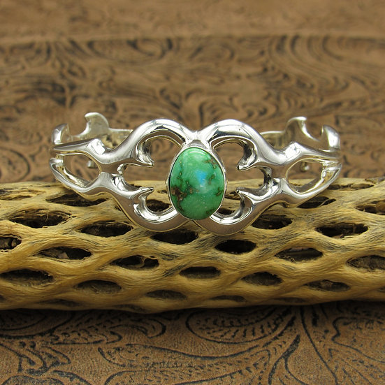 Sandcast Sterling Silver Sonoran Gold Turquoise Bracelet by Rick Tolino