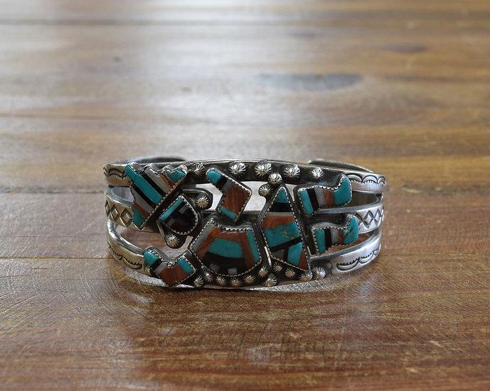 Vintage Zuni Sterling Silver and Multi-Stone Inlay Rainbow Yei Cuff Bracelet
