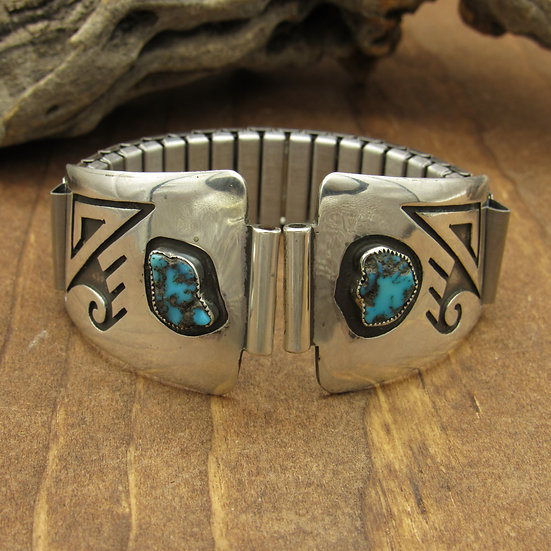 Southwest Sterling Silver and Turquoise Men's Watchband by Tom Bahe