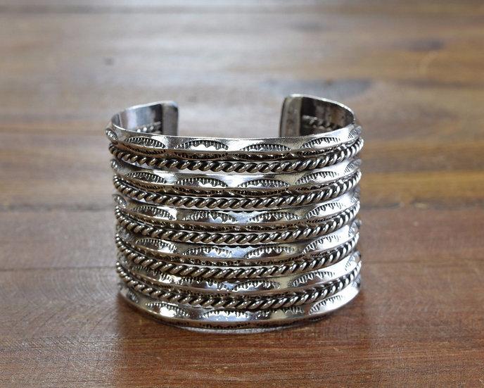 Wide 11 Row Sterling Silver Southwest Cuff Bracelet