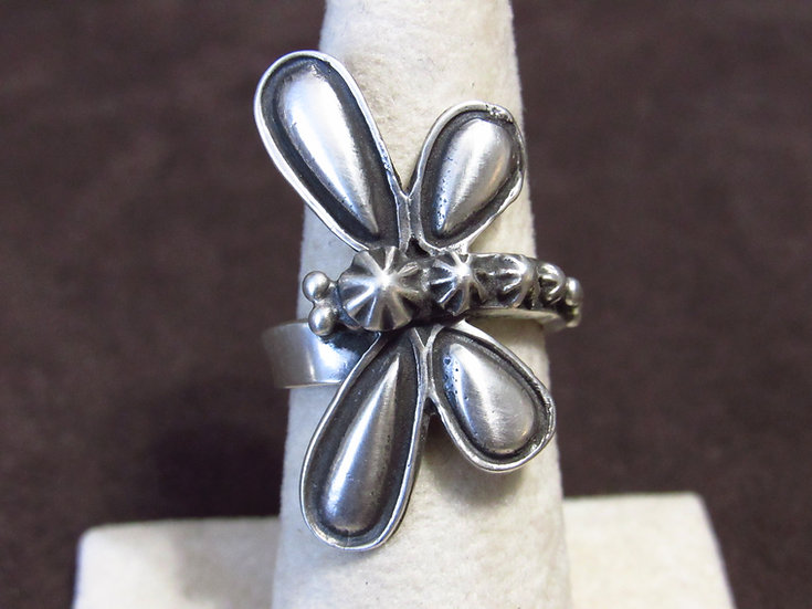 Brushed Sterling Silver Dragonfly Ladies Adjustable Ring