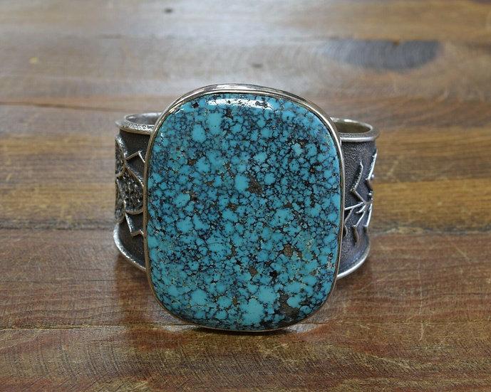 Hopi Sterling Silver Turquoise Tufa Cast Cuff Bracelet by Steve Wikviya LaRance