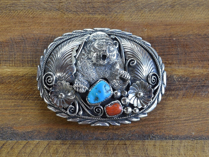 Vintage Navajo Sterling Silver Turquoise and Coral Bear Belt Buckle