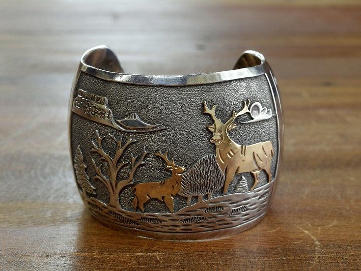 Vintage Navajo Sterling Silver and Goldfilled Overlay Cuff Bracelet