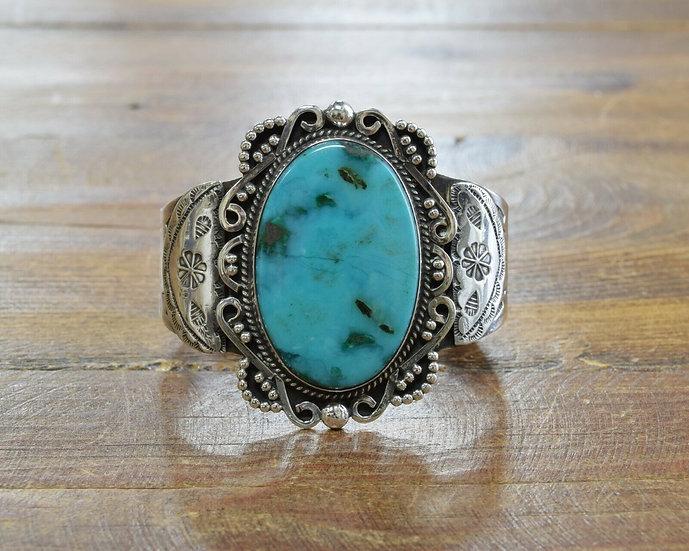 Vintage Fred Harvey Era Sterling Silver and Turquoise Bracelet