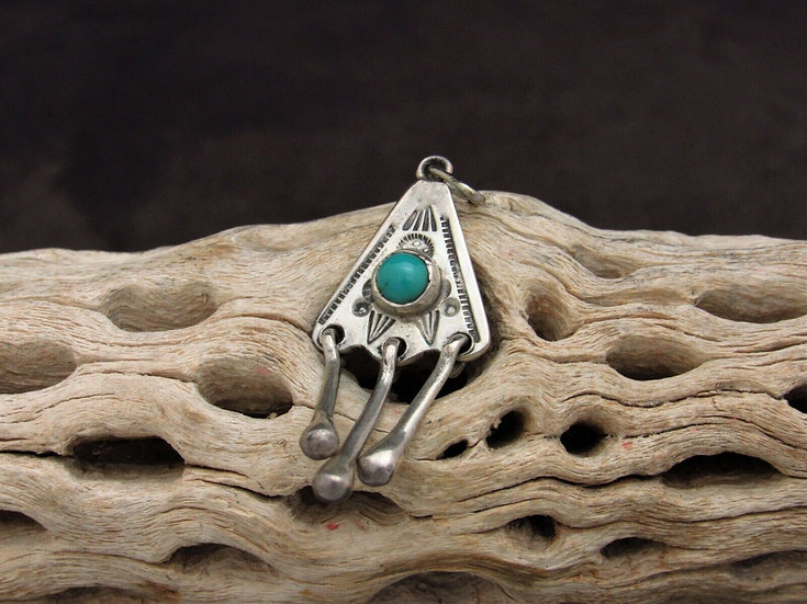 Southwest Sterling Silver and Turquoise Pendant with 3 Dangles