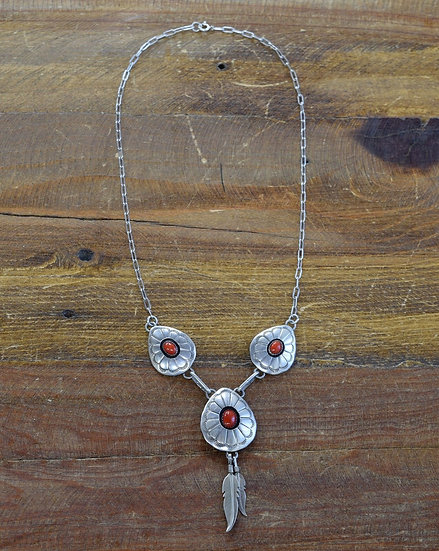 Vintage Sterling Silver Coral Shadow Box and Feather Necklace