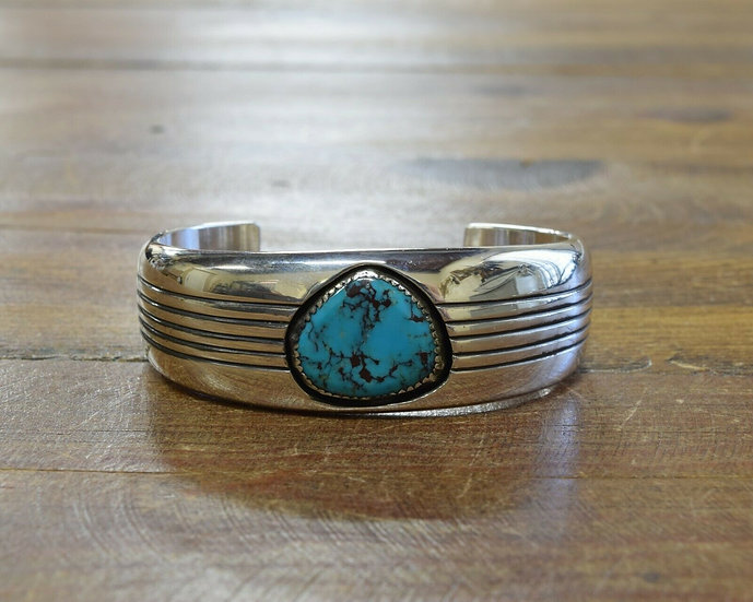 Vintage Navajo Sterling Silver and Turquoise Shadowbox Bracelet by Gene Jackson