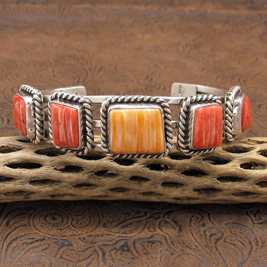 Large Sterling Silver Red And Orange Spiny Oyster Cuff Bracelet