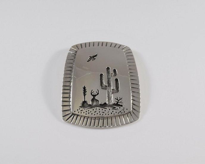 Sterling Silver Overlay Desert Scene Overlay Pendant by Rick Manuel
