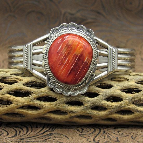 Navajo Sterling Silver Spiny Oyster Cuff Bracelet By J. Nelson