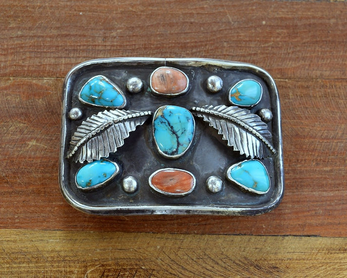 Vintage Turquoise and Coral Sterling Silver Belt Buckle