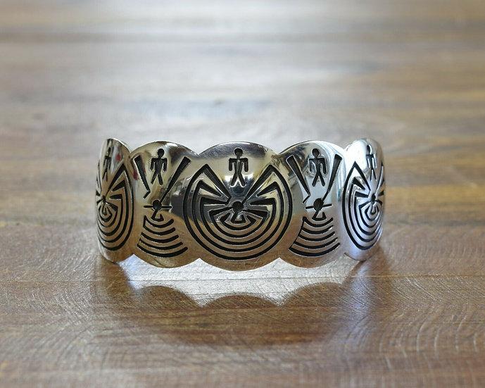 Hopi Sterling Silver Man in Maze Overlay Cuff Bracelet by Fernando Puhuhefvaya