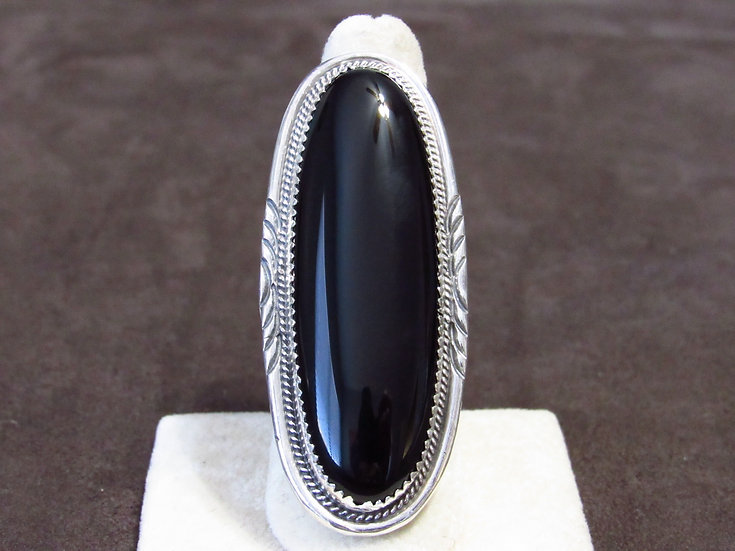 Sterling Silver and Black Onyx Long Southwest Oval Ring Size 8