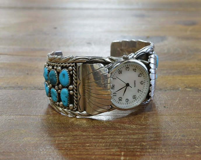 Contemporary Southwestern Turquoise Sterling Silver Watch Cuff