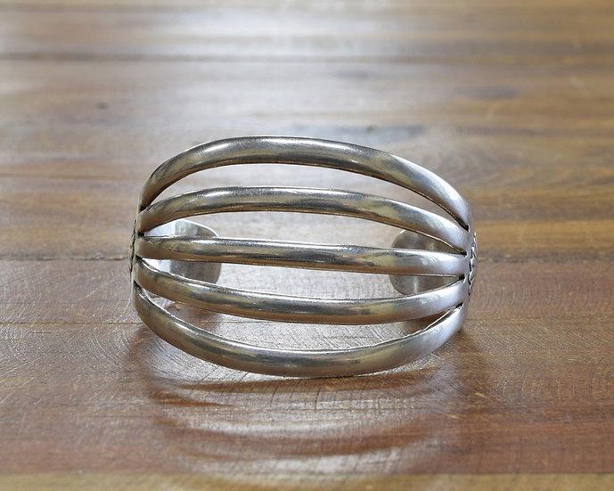 Vintage Navajo Sterling Silver Modernist Cuff Bracelet by Allen Kee White Hogan
