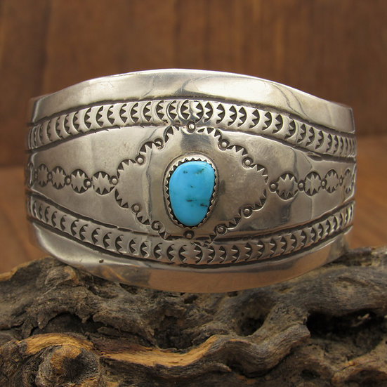 Sterling Silver Wide Cuff Bracelet with Turquoise Stone