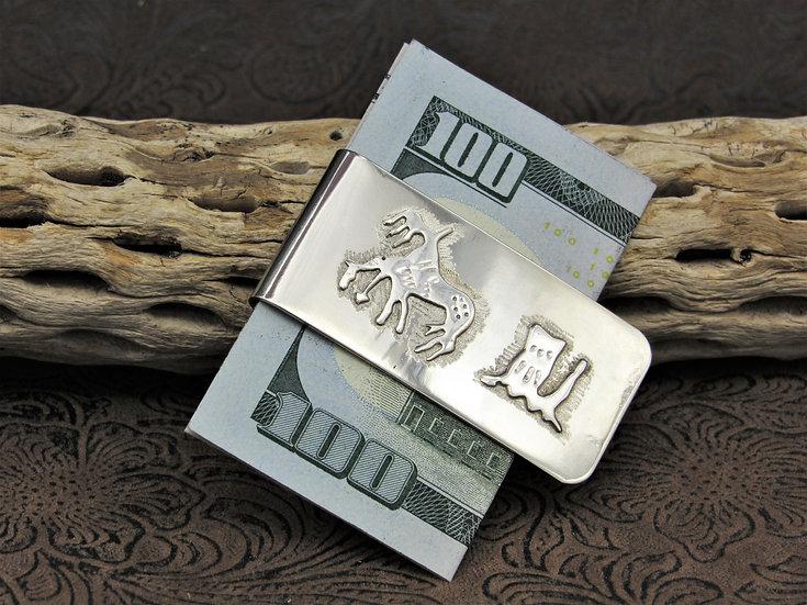 Sterling Silver Native Warrior Overlay Nickel Money Clip