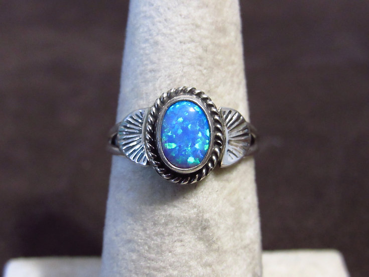 Southwest Sterling Silver and Lab Opal Ladies Ring Size 6