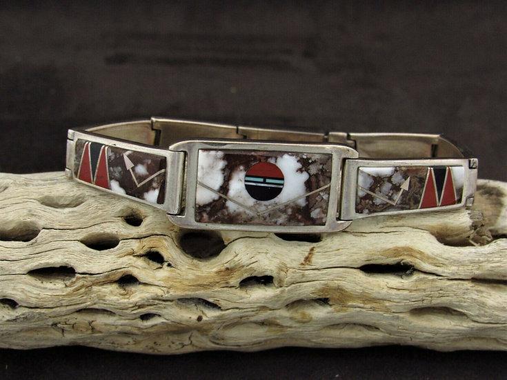 Sterling Silver Multi Stone Inlay Link Bracelet