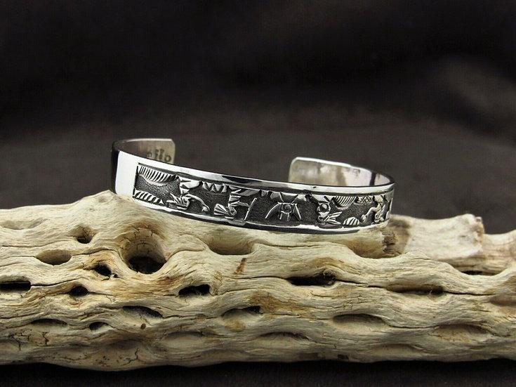 Navajo Sterling Silver Storyteller Cuff Bracelet by Robert Becen