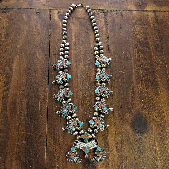 Vintage Zuni Multi Stone Inlay Rainbow Yei Squash Blossom Necklace