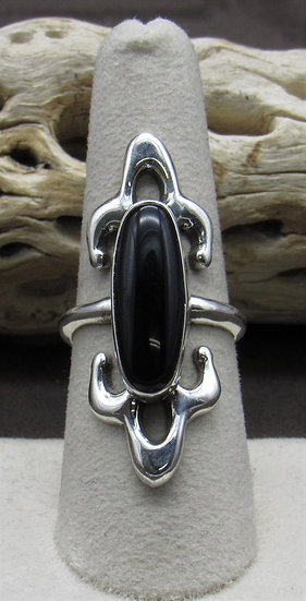 Onyx Sterling Silver Sand Cast Ring Size 8