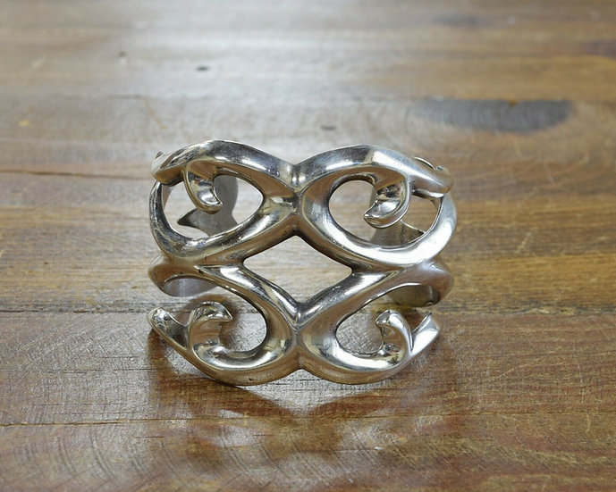 Southwestern Sterling Silver Sandcast Cuff Bracelet