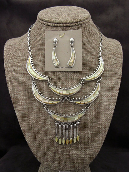 Gold Lip Mother of Pearl Inlay Necklace and Earring Set