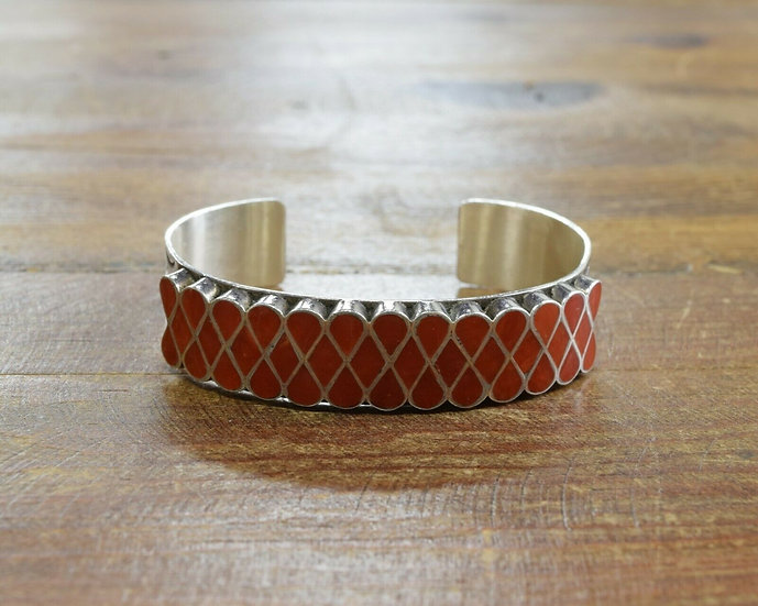 Vintage Zuni Sterling Silver and Coral Inlay Cuff Bracelet by Mike Simplicio
