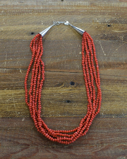 Sterling Silver and Coral Bead Multi Strand Necklace