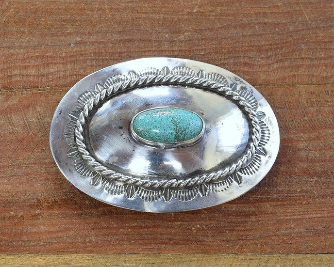 Vintage Southwest Turquoise Sterling Silver Belt Buckle