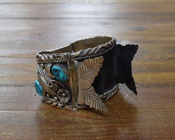 Vintage Navajo Sterling Silver Turquoise Watch Bracelet