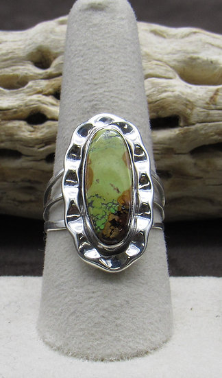 Gaspeite and Sterling Silver Ring Size 9 1/4
