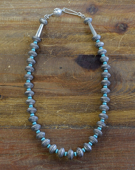 Vintage Navajo Mercury Dime and Turquoise Necklace