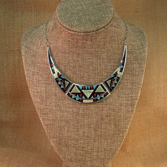Zuni Multi Stone Inlay Sterling Silver Necklace