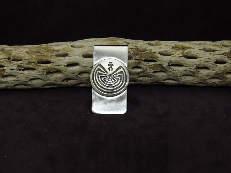 Navajo Brushed Finish Man In the Maze Money Clip