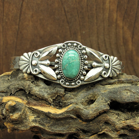Vintage Fred Harvey Era Style Sterling Silver Turquoise Cuff