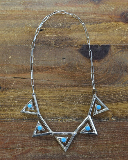 Contemporary Triangular Turquoise Sterling Silver Necklace