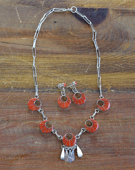 Vintage Zuni Coral Inlay Sterling Silver Necklace and Earrings Set