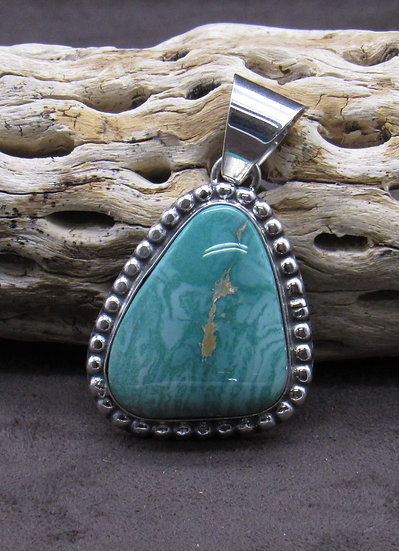Beautiful Green Turquoise and Sterling Silver Pendant