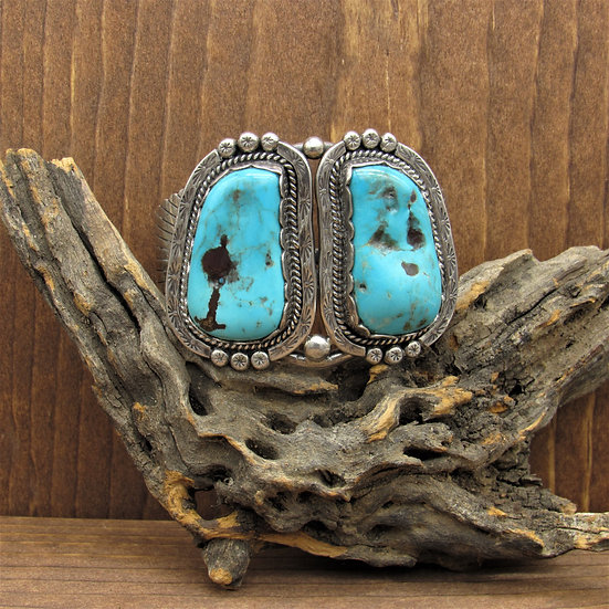Large Sterling Silver and Turquoise Southwestern Cuff Bracelet